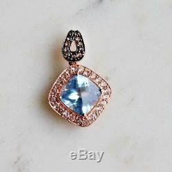 Roberto Ricci LeVian Large Blue Topaz Pendant, Sapphire, Quartz 14K Rose Gold