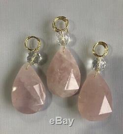 Rock Crystal Chandelier Pendants Prisms Rose Quartz Full Cut Withbead 56mm 12pcs