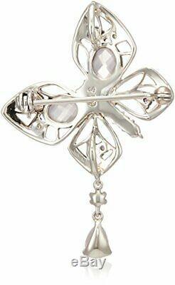 Rokuzan Rokuzan Amethyst Rose Quartz Peridot Pearl butterfly motif pendant bro