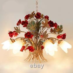 Romantic Iron Rose Restaurant Pendant Lamp Ceiling Light Lighting Chandelier