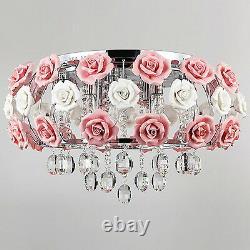 Romantic Pink Rose Flower Chandelier Light Crystal Pendant Lamp Ceiling Fixture