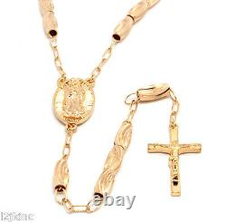 Rose Gold 36 Inch Crystal Cut Rosary Chain Jesus Cross Pendant with Guadalupe