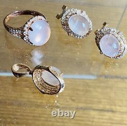 Rose Gold And Pink Quarz And Zirconi On Siver 925 Earings, Pendant, Ring Set