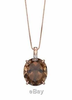Rose Gold Pendant Oval Set Smokey Quart Diamond Pendant by Elements Gold GP2158Y