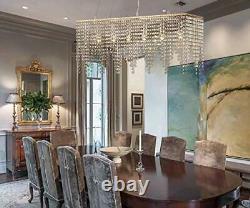 Rose Gold Rectangle Island Crystal Chandelier Pendant Lighting Ceiling
