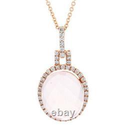 Rose Gold Rose Quartz & Diamond Halo Pendant Necklace 16 14k Cabochon 6.55ctw