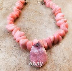Rose Pink Jade Nugget W Druzy Quartz Crystal Pendant Couture Necklace Jewelry