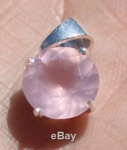 Rose Quartz 3.08ct, Solid 925 Sterling Silver Pendant, Rhodium Finish, Natural