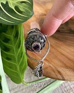 Rose Quartz Amethyst Handmade Pendant Gem Jewelry Sage Yogi Container Silver