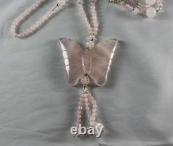 Rose Quartz Cloisonne Bead Necklace with Butterfly Pendant