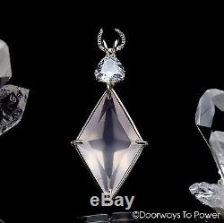 Rose Quartz & Danburite Crystal Ascension Star Pendant. 925 SS Synergy 12 Stone