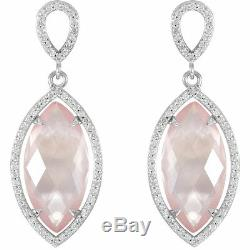Rose Quartz & Diamant Halo-Style Earrings IN 14K or Rose 5/8 Ct. Tw