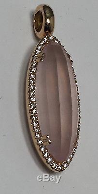 Rose Quartz & Diamond Pendant in 18k Rose Gold