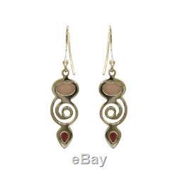 Rose Quartz Garnet 925 Sterling Silver Hook Dangle Earrings Pendant Set Jewelry