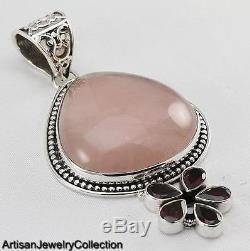 Rose Quartz Garnet Pendant 925 Sterling Silver Artisan Jewelry Collection Y110b