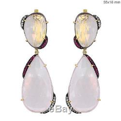 Rose Quartz Gemme Rubis 925 Diamant Pavé 14 K Jaune or Pendantes Oreilles