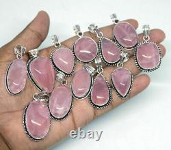 Rose Quartz Gemstone 925 Sterling Silver Overlay Wholesale Lot Superb Pendants