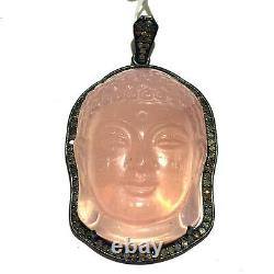 Rose Quartz Gemstone Carved Buddha Head Pendant Natural Diamond Pave 925 Silver
