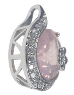 Rose Quartz Gemstone Flower Sterling Silver Pendant + Chain