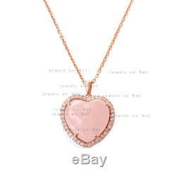 Rose Quartz Heart Shape Diamond Solid 14k Yellow Gold Pendant Necklace Jewelry