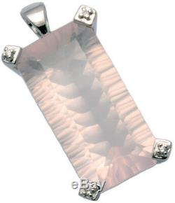Rose Quartz Huge Large Gemstone Sterling Silver Pendant + Long Chain