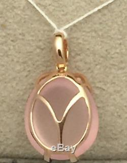 Rose Quartz, Pink Sapphire & Diamond Owl Pendant in 18K Rose Gold