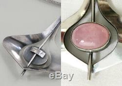 Rose Quartz Silver Pendant A. Regelmann + Silver Necklace 925 Sterling Pendant