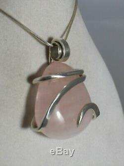 Rose Quartz Star Crystal Stone Pendant Hand Wrapped in Silver by Bellas Pendants