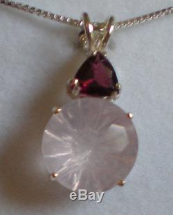 Rose Quartz Super Nova Pendant with Rhodolite Garnet j2538