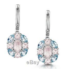 Rose Quartz, Topaz, Diamond Earrings and Pendant Set White Gold Certificate