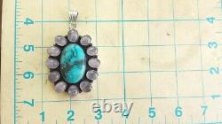 Rose Quartz Turquoise Large Sterling Silver 925 Pendant 59g PPP043