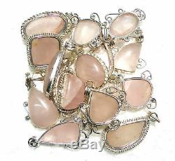 Rose Quartz Wholesale Lot Silver Plated 100P Pendant Gemstone Jewelry