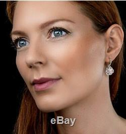 Rose Quartz and Diamond Pendant & Leverback Earrings Set White Gold Certificate