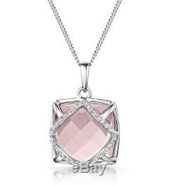 Rose Quartz and Diamond Pendant White Gold 16 20 Certificate RRP £999