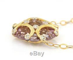 Rose Quartz and Diamond Swirl Pendant Necklace in 14kt
