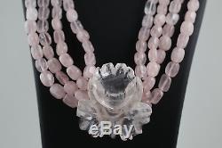 Rose Quartz necklace with Flower Pendant