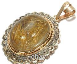 Rutile Quartz Diamond Rose-cut Pendant 14K 585 Rose White Gold