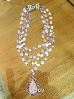 SAFIA DAY 3 Strand Rose Quartz Pendant Necklace