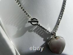 SPECIAL 110g sterling silver 925 fully HM rose quartz heart pendant necklace