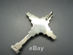 STERLING SILVER Unique CROSS PENDANT Block Style GEMSTONE INLAY Southwest OMG