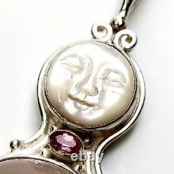 Sajen Sterling Silver Moonface Rose Quartz Pendant #8350