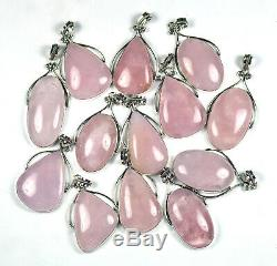 Sale 100 PCs Lot Natural Rose Quartz Gemstone Silver Plated Bezel Pendants