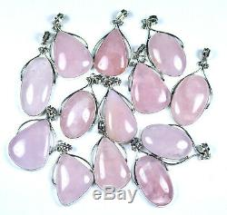 Sale 200 PCs Lot Natural Rose Quartz Gemstone. 925 Silver Plated Bezel Pendants