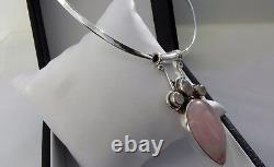 Sensational! 35g sterling silver 925 rose quartz moonstone pendant choker collar