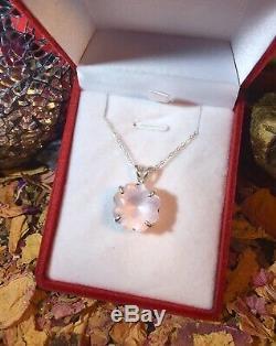 Sensational unique natural Rose Quartz Flower 15mm facet solid silver pendant