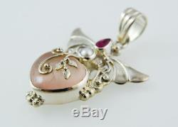 Shankari Heart Pendant, Pearl, Pink Tourmaline, Rose Quartz