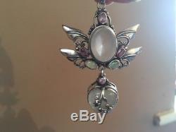 Shankari Winged Heart Rose Quartz, Pink Topaz and Opal Sterling Silver Pendant