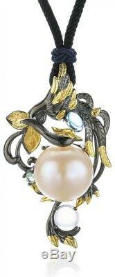 Silver Big Pearl Rose Quartz Vine Flower Natural Baroque Blue Topaz Pendant