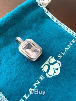 Slane & Slane Matte sterling silver. 925 Pink Rose Quartz Enhancer / Pendant