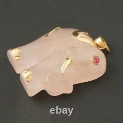 Solid 14K Yellow Gold, Rose Quartz & Ruby Eye Elephant Estate Pendant